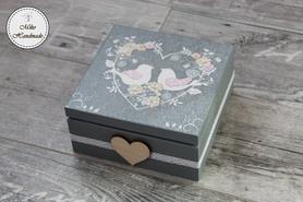 Pudełko na pamiątkę Ślubu (4 przegródki) - ptaszki
