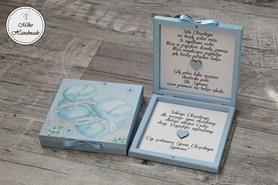 Pudełko z prośbą o zostanie Chrzestnym - błękitne