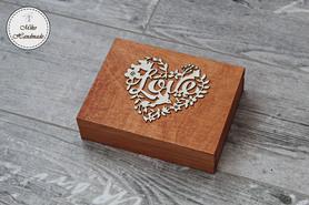 Pudełko na obrączki - mahoniowe z napisami (czerwone wypełnienie)