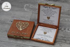 Pudełko z prośbą o błogosławieństwo z datą - mahoń