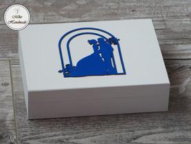 Pudełko na obrączki -białe z napisami (czerwone wypełnienie)