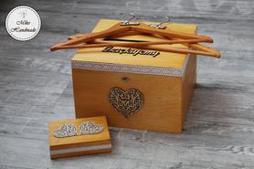 Komplet pudełek ślubnych + wieszaki