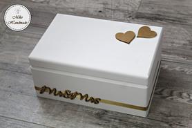 Skrzynka na koperty z napisem Mr&Mrs - biała