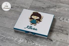 Pudełko na podziękowanie dla Ojca Chrzestnego z imieniem - Merci (dziewczynka)