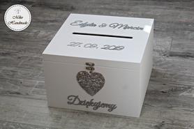 Skrzynka na koperty biała z dekorem - personalizowana