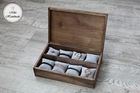 Pudełko na zegarki/bransoletki (8 poduszeczek)