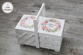 Niciarka - biała - pastelowe kwiaty