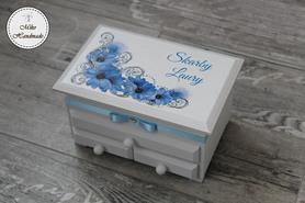 Szkatułka z lusterkiem i trzema szufladkami - niebieskie kwiaty