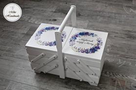 Niciarka - biała - fioletowe kwiaty