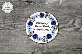 Podziękowanie dla Gości - Magnes - Niebieskie kwiaty - 10 szt.