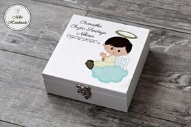 Pudełko na pamiątkę Chrztu Świętego - chłopiec (aniołek)