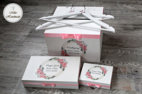 Komplet pudełek ślubnych - rożowe kwiaty - koło