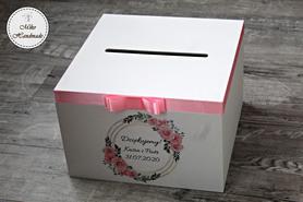 Skrzynka na koperty ślubne - różowe kwiaty - koło
