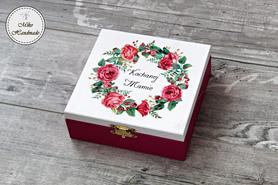 Pudełko dla Mamy - ciemnoróżowe kwiaty
