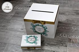Komplet pudełek ślubnych - zielone liście