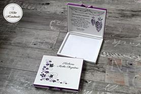 Podziękowanie dla Rodziców Chrzestnych - ślub - Merci (fioletowe kwiaty)
