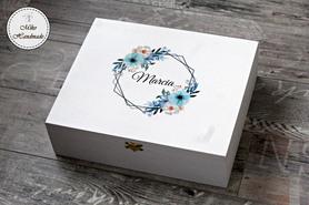 Skrzynka na wino (duża) - Prośba o Świadkowanie - niebieskie kwiaty