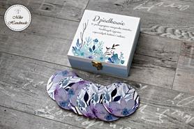 Szkatułka okolicznościowa - błękitno-fioletowe kwiaty + podkładki