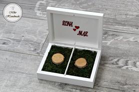 Pudełko na obrączki -białe z mchem
