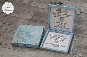 Pudełko z prośbą o zostanie Chrzestną - błękitne