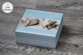 Pudełko na pamiątkę Chrztu Świętego - chłopiec (stópki)