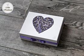 Pudełko na obrączki -białe z imionami (białe wypełnienie)