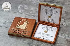 Pudełko z prośbą o błogosławieństwo z imionami i datą - mahoń