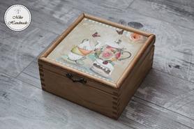 Pudełko na herbatę - vintage (4 przegródki)