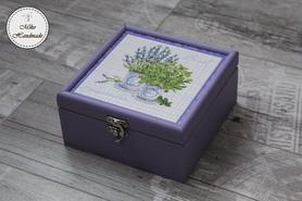 Pudełko na herbatę - Lawenda (4 przegródki)