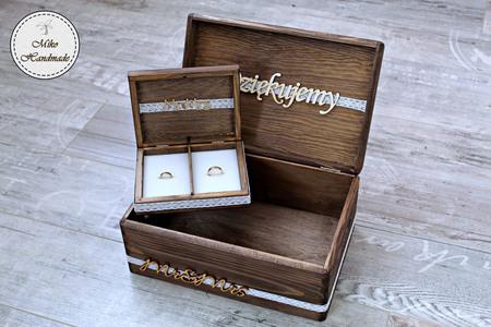 Komplet pudełek ślubnych - rustykalny (Mr&Mrs) (1)