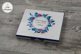 Pudełko na czekoladki Merci - podziękowanie - chabrowy wzór