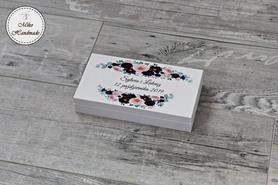 Pudełko na pieniądze dla Pary Młodej - bordowe kwiaty