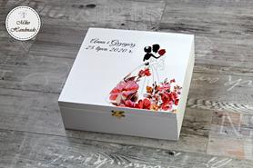 Pudełko na prezent ślubny (Duże) - Para Młoda w kwiatach
