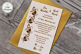 Naturalne zaproszenie ślubne - róże