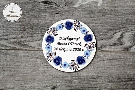 Podziękowanie dla Gości - Magnes - Niebieskie kwiaty - 10 szt. (1)