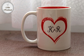 Kubek na Walentynki - I love You + inicjały