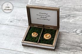 Pudełko na obrączki - brąz z dekorem i cytatem (mech)