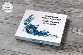 Podziękowanie dla Matki Chrzestnej - ślub - Merci (niebieskie kwiaty)