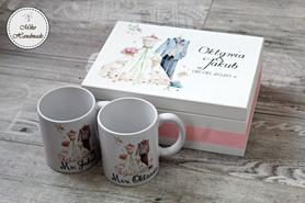 Prezent ślubny - pudełko + Kubki dla Pary Młodej (Suknia i Frak)