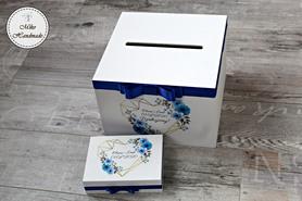 Komplet pudełek ślubnych - gemoteryczne serce - niebieskie kwiaty