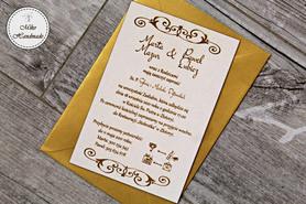 Naturalne zaproszenie ślubne - ornamenty