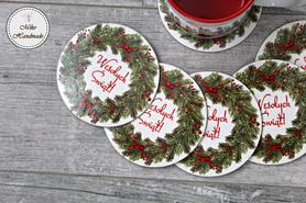 Świąteczna podkładka pod Kubek - Wesołych Świąt