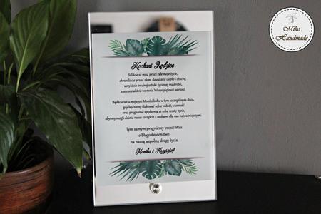 Prośba o Błogosławieństwo na szkle z lustrem - tropikalne liście (1)