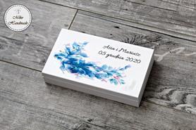 Pudełko na pieniądze dla Pary Młodej - niebieski wzór