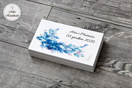 Pudełko na pieniądze dla Pary Młodej - niebieski wzór (1)