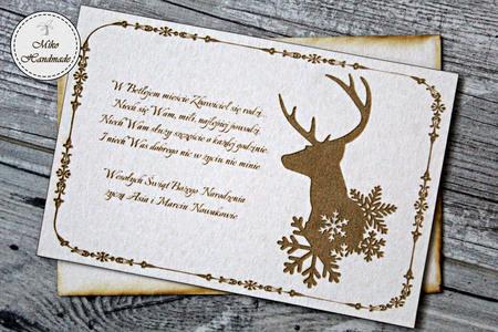 Naturalna kartka Świąteczna z Twoimi życzeniami - Renifer (2)
