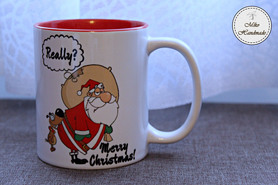 Zabawny Kubek Świąteczny - Mikołaj