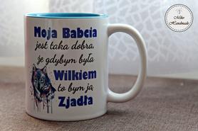 Kubek dla Babci - Dzień Babci (Wilk Wz.2) - niebieski
