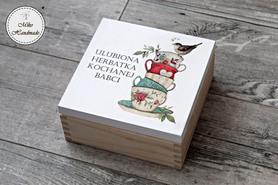 Pudełko na herbatę Babci - Wzór 1 (4 przegródki)