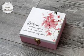 Szkatułka okolicznościowa - różowe kwiaty